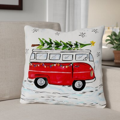 Bus Candy Cane Throw Pillow Size: 18 x 18