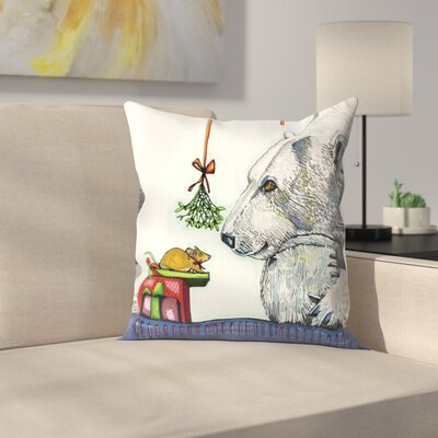 Yasmin and Karl Polar Bear And Mouse Throw Pillow Size: 18 x 18