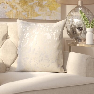 Surrey Leather Throw Pillow Color: White Silver