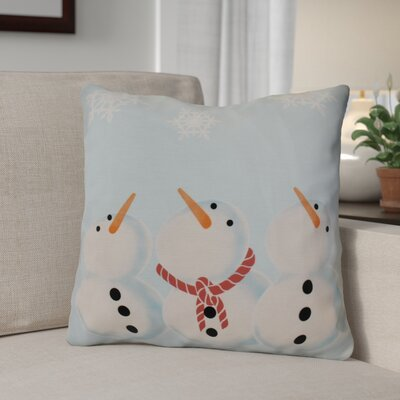 Decorative Snowman Print Outdoor Throw Pillow Size: 16 H x 16 W, Color: Light Blue