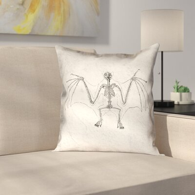 Vintage Bat Skeleton Throw Pillow Size: 16 x 16