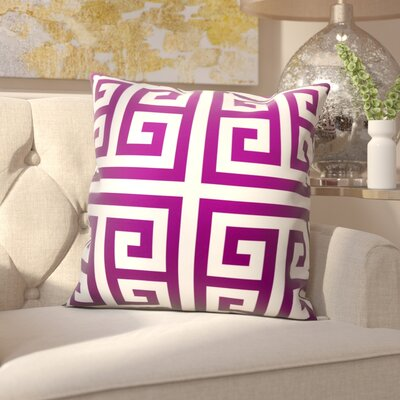 Gallia Geometric Faux Silk Outdoor Throw Pillow Color: Lilac