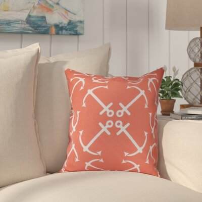 Hancock Anchors Up Geometric Print Outdoor Throw Pillow Size: 18 H x 18 W, Color: Orange