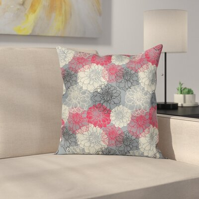 Flower Hand Drawn Floral Art Square Pillow Cover Size: 24 x 24