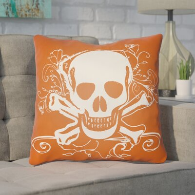 Calindra Skull and Bone Throw Pillow Size: 18 H x 18 W x 4 D, Color: Orange