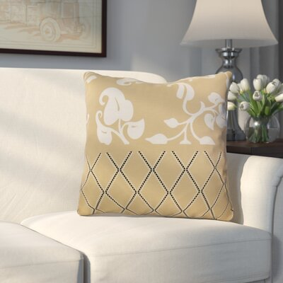 Decorative Holiday Floral Print Outdoor Throw Pillow Size: 18 H x 18 W, Color: Taupe