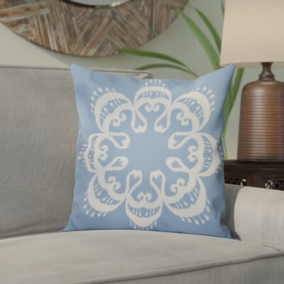 Meetinghouse Ikat Mandala Geometric Outdoor Throw Pillow Size: 18 H x 18 W, Color: Blue