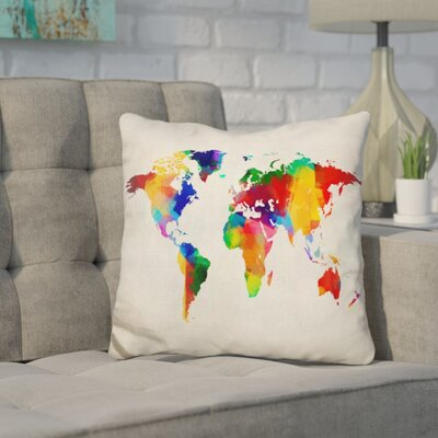 Corlew World Map Sponge Paint Throw Pillow