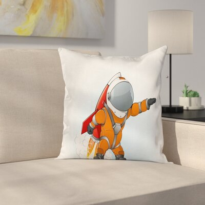 Astronaut Galaxy Journey Cushion Pillow Cover Size: 18 x 18