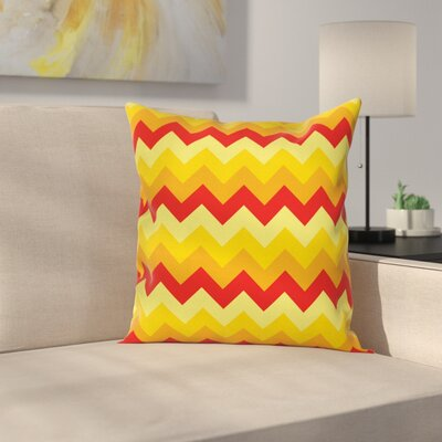 Chevron Warm Arrow Square Cushion Pillow Cover Size: 24 x 24