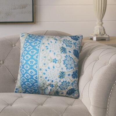 Polster Floral Cotton Throw Pillow Color: Lapis