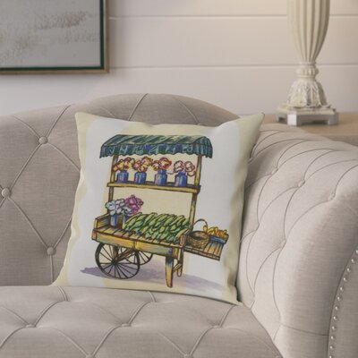 Kaylor Veggie Cart Indoor/Outdoor Throw Pillow Color: Light Blue, Size: 16 x 16