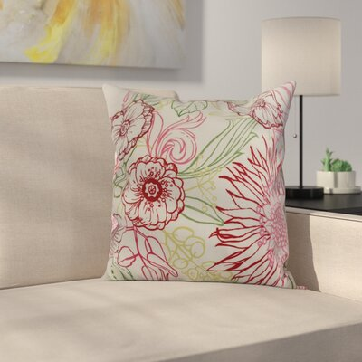 Jarred Floral Print Indoor/Outdoor Throw Pillow Color: Red, Size: 16 x 16