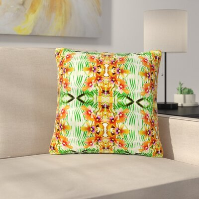 Dawid Roc Tropical Flowers-Palm Leaves Pattern Outdoor Throw Pillow Size: 16 H x 16 W x 5 D
