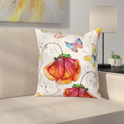 Swirled Flowers Flamingo Square Pillow Cover Size: 16 x 16