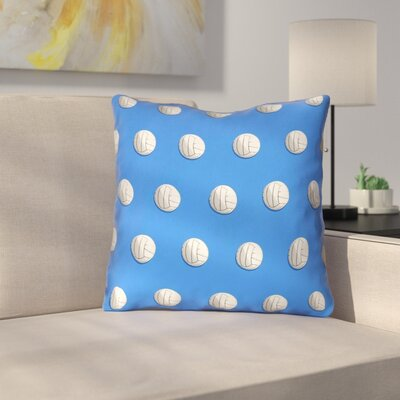 Volleyball Double Sided Print 100% Cotton Throw Pillow Size: 18 x 18, Color: Blue
