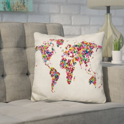 Corlew World Map Butterflies Throw Pillow