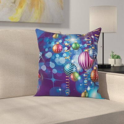 Christmas Happy New Year Party Square Pillow Cover Size: 20 x 20