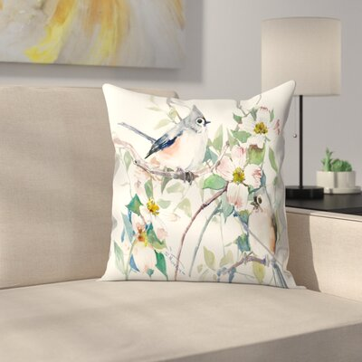 Suren Nersisyan Titmice and Dogwood Throw Pillow Size: 14 x 14