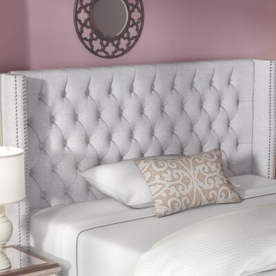 Candice Upholstered Wingback Headboard Size: King, Upholstery: Grey
