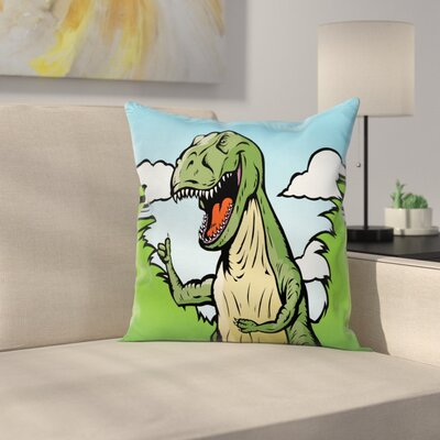 Dinosaur Cartoon T-Rex Funny Square Cushion Pillow Cover Size: 16 x 16