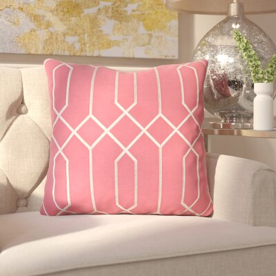Kaivhon Geometric Linen Throw Pillow Size: 18 H x 18 W x 4 D, Color: Carnation