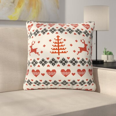 Knitting Deer White Hearts Throw Pillow Size: 20 H x 20 W x 6 D