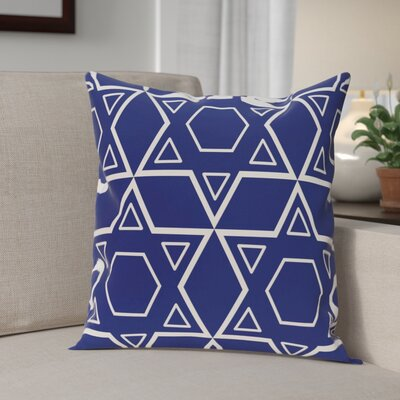 Star of David Quilt Throw Pillow Size: 20 H x 20 W, Color: Blue