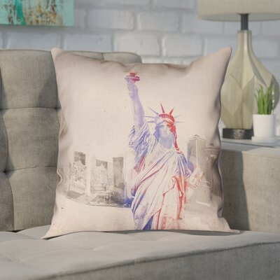 Houck Watercolor Statue of Liberty Cotton Pillow Cover Size: 26 H x 26 W