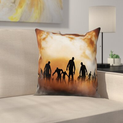 Halloween Decor Zombies Misty Square Pillow Cover Size: 24 x 24