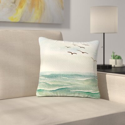 Cyndi Steen Flock Flying Low Coastal Outdoor Throw Pillow Size: 16 H x 16 W x 5 D