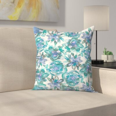Jetty Printables Watercolor Succulent Pattern Throw Pillow Size: 14 x 14