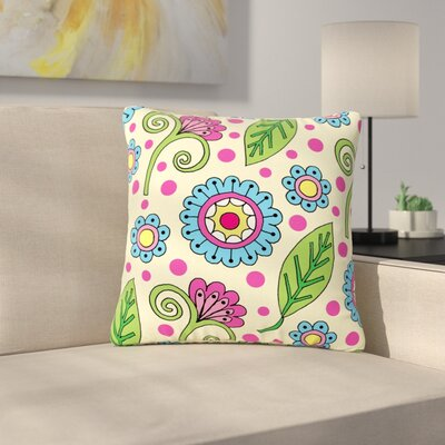 Sarah Oelerich Polka Dot Garden Floral Pattern Outdoor Throw Pillow Size: 16 H x 16 W x 5 D
