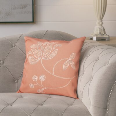 Maniteau Floral Bloom Outdoor Throw Pillow Size: 20 H x 20 W, Color: Coral