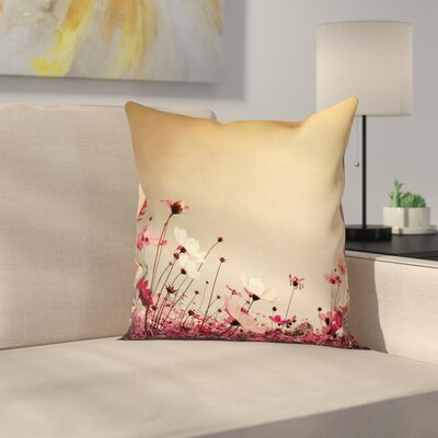 Garden Flowers Poppies Cushion Pillow Cover Size: 16