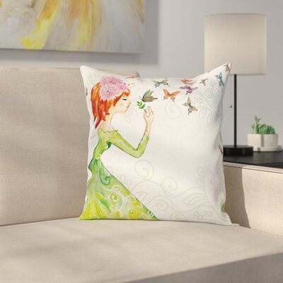 Butterfly Cartoon Lady Square Pillow Cover Size: 16 x 16