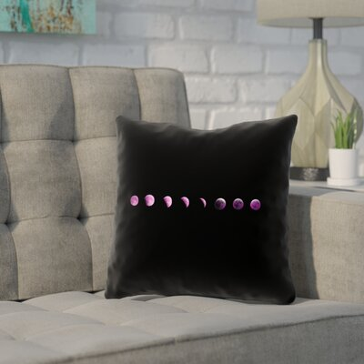 Enciso Moon Phases Square Throw Pillow Color: Purple, Size: 16 x 16