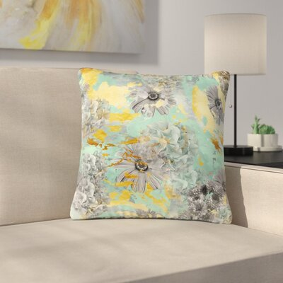 Zara Martina Mansen Floral Blush Outdoor Throw Pillow Size: 18 H x 18 W x 5 D, Color: Green/Gray