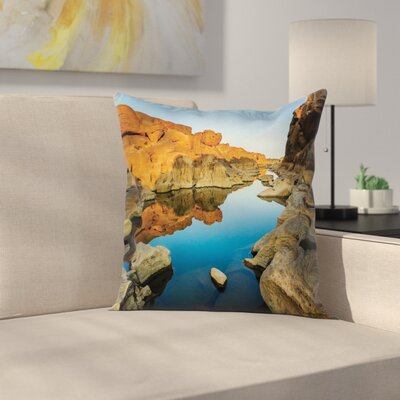 Nature River between Cliffs Square Pillow Cover Size: 18 x 18