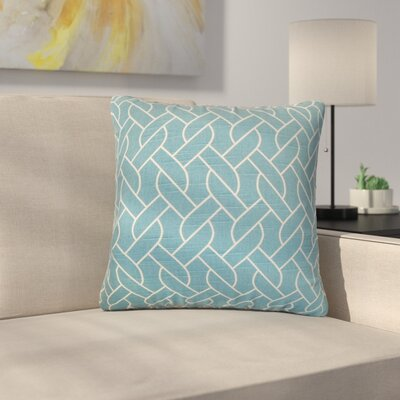 Harding Cotton Throw Pillow Color: Aquamarine, Size: 22 x 22