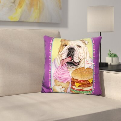 Bulldog Hamburger Throw Pillow