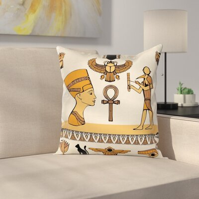 Egyptian Ancient Symbols Set Square Pillow Cover Size: 16 x 16