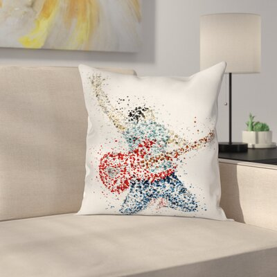 Guitarist Dots Square Pillow Cover Size: 16 x 16