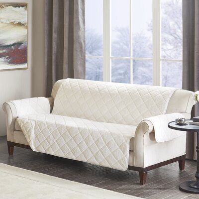Floral Cotton Printed Reversible Box Cushion Sofa Slipcover Upholstery: Polyester Geometric Ivory