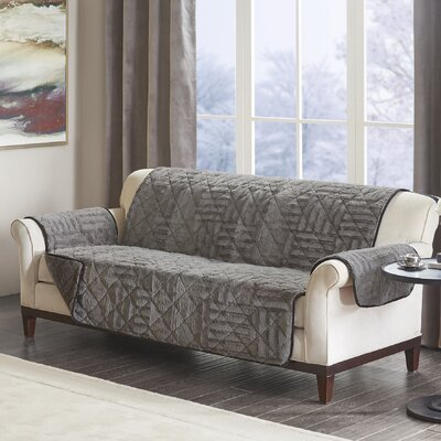 Floral Cotton Printed Reversible Box Cushion Sofa Slipcover Upholstery: Polyester Geometric Gray