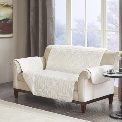 Floral Cotton Printed Reversible Box Cushion Loveseat Slipcover Upholstery: Polyester Geometric Ivory
