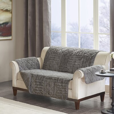 Floral Cotton Printed Reversible Box Cushion Loveseat Slipcover Upholstery: Polyester Geometric Gray