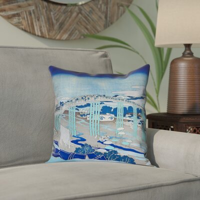 Enya Japanese Bridge Waterproof Throw Pillow Color: Blue, Size: 16 x 16