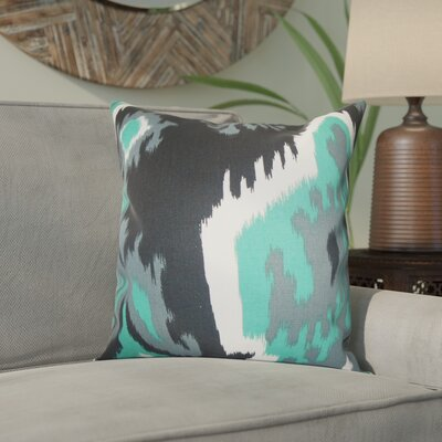 Emmitt Ikat Cotton Throw Pillow Color: Gray, Size: 18 H x 18 W
