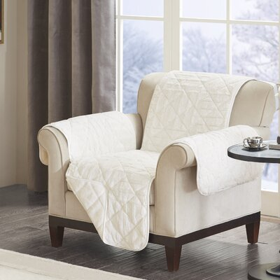 Floral Cotton Printed Reversible Box Cushion Armchair Slipcover Upholstery: Polyester Geometric Ivory
